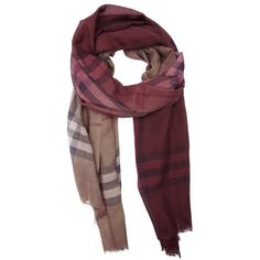 Burberry Burgundy and brown giant check ombre silk blend gauze scarf ($311) ❤ liked on Polyvore featuring accessories, scarves, gauze scarves, burberry scarves, burberry, burberry shawl and print scarves