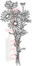 DEEP RED RUBBER CLING STAMP DAISY BOUQUETTE GARDEN FLOWERS #3X404271