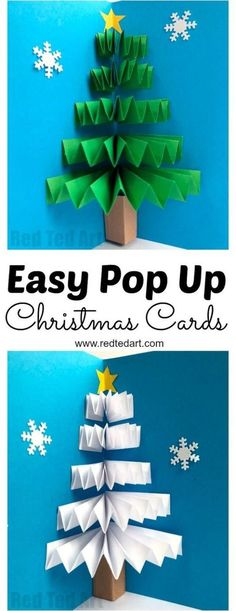 Easy to make Christmas tree crafts for kids of all ages. - Adventscafe basteln Easy to make Christmas tree crafts for kids of all ages. Easy to make Christmas tree crafts for kids of all ages. Pop Up Christmas Cards, Christmas Pops, How To Make Christmas Tree, Christmas Tree Crafts, Christmas Holidays, Funny Christmas, Christmas Decorations Diy For Kids, Christmas Ecards, Christmas Card Ideas With Kids