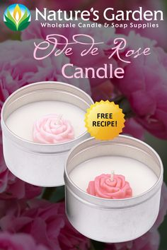 Free Ode De Rose Candle Recipe by Natures Garden. Scented Wax, Scented Candles, Garden Candles, Gel Candles, Wax Burner, Rose Candle, Soap Making Supplies, Homemade Candles, Cold Process Soap