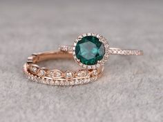 3pcs Emerald Engagement ring Set!14k rose gold,Diamond wedding band,7mm Round Cut,Bridal Ring,Retro Vintage,Art Deco,Lab-Treated Green stone by popRing on Etsy