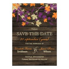 Barnwood Rustic Plum Orange Purple Fall Leaves SAVE THE DATE Invite Announcement…
