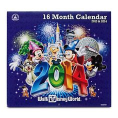 Make a date with fun using this Walt Disney World Calendar. Covering the period from September 2013 - December 2014, the calendar features 16 memorable images to whet your appetite for your next park visit.