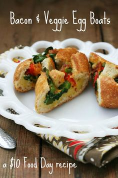 Bacon-veggie egg boats, part of the $10 Food Day from Cheap Recipe Blog. Repin to save!