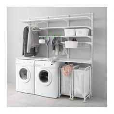 Möbel & Einrichtungsideen für dein Zuhause IKEA - ALGOT, wall rail / floors / laundry holder, The parts of the ALGOT series can be combined in many ways and can thus be adapted to the need and t Ikea Algot, Laundry Room Storage, Ikea Laundry, Ikea, Bathroom Storage, Small Storage, Small Laundry Room, Ikea Laundry Room, Ikea Closet