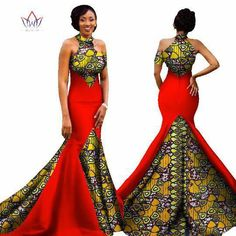 Image of Mermaid African Dresses New Arrival Sleeveless Floor Length Women Formal Occasion Dress Africa Evening Gowns for African American Fashion, Latest African Fashion Dresses, African Dresses For Women, African Print Dresses, African Attire, African Wear, African Style, African Women, Ankara Fashion