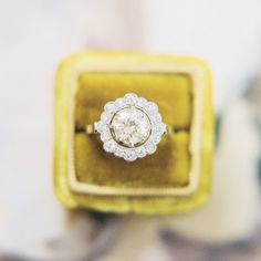 Stunning Vintage Edwardian Engagement Ring with Old European Cut Halo   Scarborough  from Trumpet & Horn