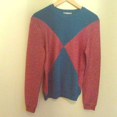 Opening Ceremony Blue and Pink Sweater Adorable Open Ceremony pullover, size M. In great condition, a few minor picks in the pink glitter fabric, would work for a size small as well! Opening Ceremony Tops Sweatshirts & Hoodies