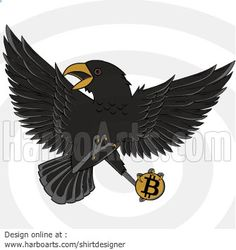Crow holding Bitcoin - Vector Graphic - DOWNLOAD here >> http://harboarts.com/artwork/crow-stealing-bitcoin-vector-graphics_template_1412515362685P2R/