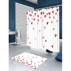 Valentineu0027s Day Heart Of Love Printed Shower Curtain