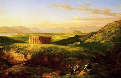 The Temple of Segesta with the Artist Sketching - Thomas Cole
