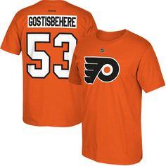 Men's Philadelphia Flyers Shayne Gostisbehere Reebok Orange Home Name & Number T-Shirt