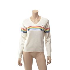 Vintage 80s OP Rainbow Stripe Sweater 1980s Ocean Pacific New Wave Hipster Knit Reto Old School Pullover Ski Sweater / Womens size M