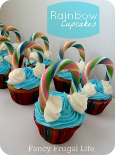 Rainbow cupcakes- change colors up for St. Rainbow Cupcakes, Rainbow Food, Yummy Cupcakes, Rainbow Candy, Yummy Treats, Delicious Desserts, Sweet Treats, Cake Cookies, Cupcake Cakes