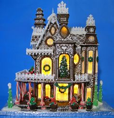 """Gingerbread House 2014 This is my Gingerbread House for 2014. It is based on a 3d Fantasy Villa Puzzle. The house is 19 1/2"""" x 15""""..."""