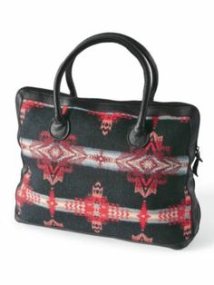 Pendleton USA $198 SQUARE LEATHER-TRIM TOTE (Black Evening Star)