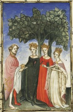 15th century (first quarter?) France?  Paris, Bibliothèque nationale de France  Français 606: L´Epistre dOthea by Christine de Pisan  fol. 34v http://gallica.bnf.fr/ark:/12148/btv1b60007552/f32.item  (Transl. I freaking need a black dress like that).