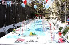 Great train party table #vintage #train #birthday