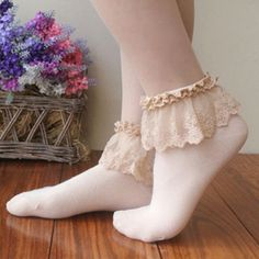 "Sweet cute lace socks - Use the code ""batty"" at Cute Harajuku and Women Fashion for off your order! Sexy Socks, Socks And Heels, Ankle Socks, Boot Socks, Frilly Socks, Lace Socks, Pink Outfits, Cute Outfits, Fashion Outfits"