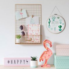 Decorate your home for year-round celebrations with a selection of fairy lights, garlands and paper lanterns from Maisons du Monde. Pastel Room Decor, Rose Gold Room Decor, Rose Gold Rooms, Cute Room Decor, Flamingo Decor, Girl Bedroom Designs, Girls Bedroom, Room Goals, Aesthetic Rooms