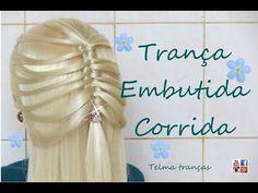 Trança Embutida Corrida, different braid, trenza fácil - Telma tranças - YouTube