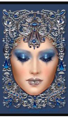 Image detail for - Maxine Gadd Art Deco Cards, Fairy Art, Klimt, Mixed Media Art, Blue And Silver, Art Nouveau, Fantasy Art, Vintage Ladies, Illustrations
