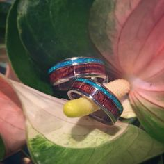 If you're BFFs or a married couple and want rings to match your love, we have these beautiful titanium rings with inlays that can match your love! These rings can be customized to you! Visit us at any of our three galleries and we'd be happy to help you! . . #simplywoodstudios #alohamade #kapahulu #royalhawaiiancenter #ilikaihotelandluxurysuites