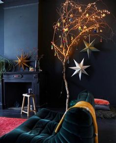 Feeling a little bit festive this Friday Eve. and so is by the looks for things! So beautiful! Christmas Branches, Christmas Tree, Hague Blue, Friday Eve, Interior Styling, Interior Design, Dark Walls, Dark Interiors, Friday Feeling