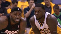 Blowing in his ear. | Lance Stephenson Tries To Distract LeBron James By Blowing In His Ear