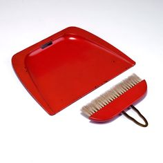 Marianne Brandt; Enameled Metal and Lacquered Wood Dustpan and Broom, c1930.