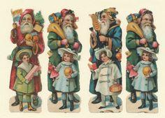 047 Alte Oblaten Glanzbilder  Vier Weihnachtsmänner  (8 x3,5 cm  je Oblate)