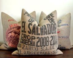 Cafe De El Salvador - Coffee Sack Pillow Handmade by VelvetBean on Etsy. $65.00, via Etsy.