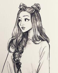 hair sketch tutorial step by step . Girl Drawing Sketches, Girly Drawings, Art Drawings Sketches Simple, Pencil Art Drawings, Tumblr Sketches, Drawing Tips, Pencil Sketches Of Girls, Tumblr Girl Drawing, Manga Drawing