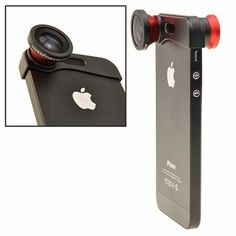 Fish Eye, Wide Angle and Macro Lens 3-in-1 Quick-Change Camera Lens for iPhone 5 – Black $12.49