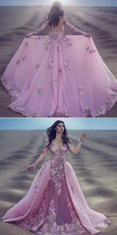A-Line Deep V-Neck Illusion Back Pink Tulle Prom Dress with Appliques, unique pink backless long prom dresses with sleeves, luxury illusion long sleeves evenign dresses #pinkdress #eveningdress
