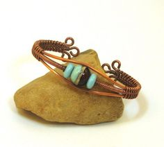 Turquoise and Amber Lampwork Bead Copper Woven Wire Cuff   BDJDesigns - Jewelry on ArtFire