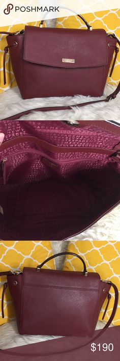 """🌸OFFERS?🌸Kate Spade All Leather Maroon Satchel 🌷Authentic🌷Excellent shape. Minimal sign of use. Features top handle, removable/adjustable strap, snap button to close and 3 pockets inside. Great size for going out or everyday purse. Holds a decent amount of essentials. Lovely color! Carry it by hand/arm (if you have skinny arm like me), shoulder or crossbody. Don't be shy to make an offer💕 Dimensions: L15"""" H9"""" Bottom Width5"""" Handle Drop3"""" +removable strap ✨Feel free to bundle with other…"""