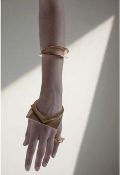 Geometric Jewellery - gold circle  square bangles  rings; chic minimal statement jewelry // Samma