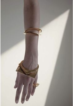 Geometric Jewellery - gold circle & square bangles & rings; chic minimal statement jewelry // Samma