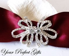 SALE Rhinestone Buckle Diamante Crystal Slider Closure Clasp Bow Wedding Bouquet Invitation Cake Decoration Napkin Ring BK091