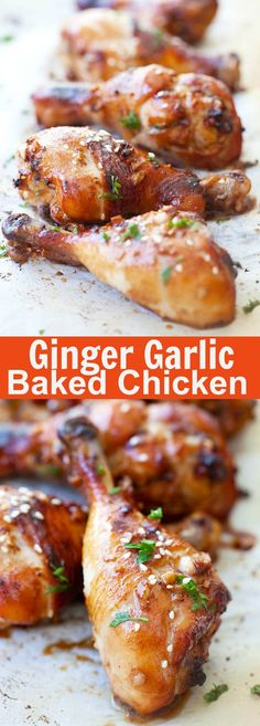 Asian ginger garlic baked chicken marinated with ginger, garlic, soy sauce and honey. Quick and delicious recipe that calls for simple ingredients | rasamalaysia.com