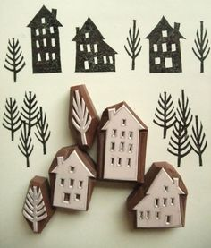 stamps hand carved rubber stamps by talktothesun. winter street rubber stamp set with 3 house stamps + 2 tree stamps. scandinavian village style craft stamp series for your christmas + winter diy crafts. about - tree stamp. Stamp Printing, Printing On Fabric, Hand Printed Fabric, Clay Stamps, Stamp Carving, Carving Wood, Handmade Stamps, Handmade Gifts, 242