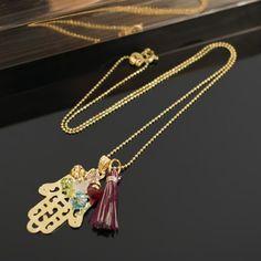 Collares mujer Mano Hamsa Mano de Dios Fatima en  bronce con baño de oro cristales swarovski borla de hilo hand made lindas joyas