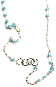 Turquoise Love Link Bead Necklaces (looks like the audi symbol :) )