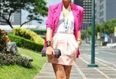 city fashion, pink blazer