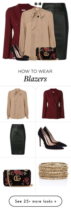 """""""Working Girl #80"""" by angelysty on Polyvore featuring Drome, P.A.R.O.S.H., L'Agence, Gucci, 1928 and Rosena Sammi Jewelry"""