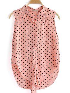 Pink High Neck Sleeveless Polka Dot Single Breasted Chiffon Shirt