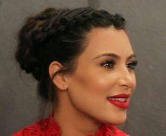 Kim Kardashian center parted Dutch braids with bun