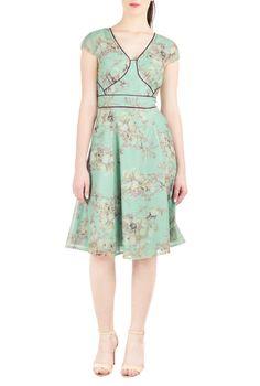 Floral Print Dresses, V-Neck Bolero Style Dresses Shop womens designer clothes - Dresses: Strapless, Cocktail, Fashion Dresses, CL0037462   eShakti