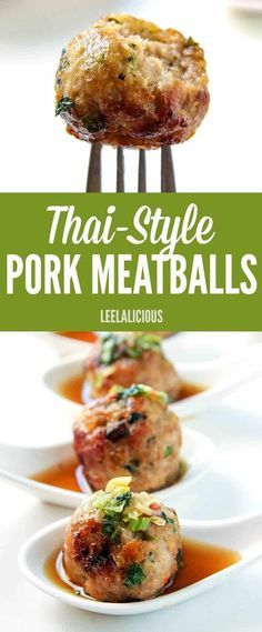 Food - These juicy Thai-style pork meatballs are deliciously flavored with lemongrass, ginger and garlic. As an appetizer these meatballs are amazing with the intensely flavorful dipping sauce, but they also make a great main course. Thai Recipes, Pork Recipes, Asian Recipes, Cooking Recipes, Healthy Recipes, Turkey Recipes, Cooking Games, Vegemite Recipes, Cleaning Recipes